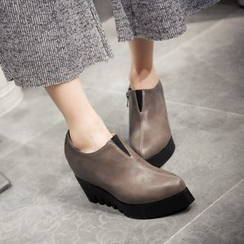 JY Shoes - Platform Wedge Ankle Boots