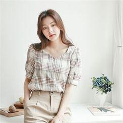 Styleberry - Puff-Sleeve Plaid Shirt