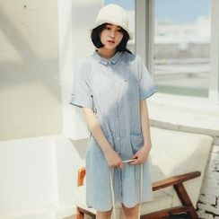11.STREET - Short-Sleeve Shirtdress