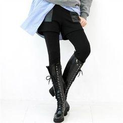 GLAM12 - Inset Faux-Leather Panel Trim Shorts Leggings