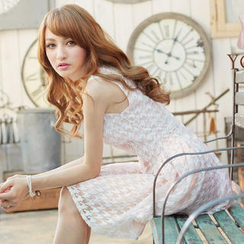 Tokyo Fashion - Sleeveless Bow-Accent Houndstooth Lace Dress