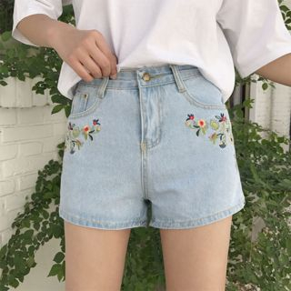 Moon City - Floral Embroidered denim Shorts