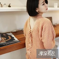 Tokyo Fashion - Lace-Up Back Loose-Fit Sweater