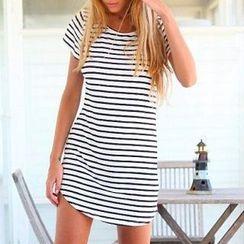 Everose - Short-Sleeve Striped T-Shirt Dress