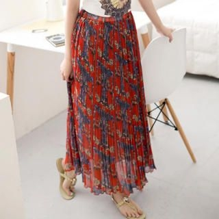 CatWorld - Accordion-Pleat Patterned Maxi Skirt