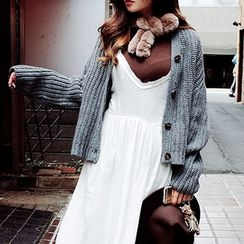 chuu - V-Neck Buttoned Wool Rib-Knit Cardigan