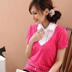 RingBear - Inset Ruffle Shirt V-Neck Knit Top