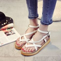 Zandy Shoes - Cross-Strap Flat Sandals