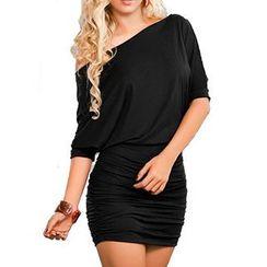 Noctiluca - Short-Sleeve Off Shoulder Sheath Dress