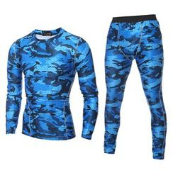 Hansel - Sport Set: Camouflage Quick Dry Long-Sleeve Top + Pants