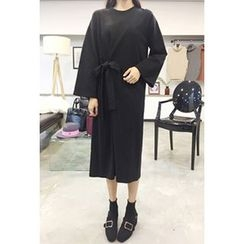 OZNARA - Tie-Waist Midi T-Shirt Dress
