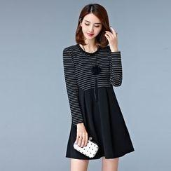 Sienne - Long-Sleeve Striped Panel A-line Dress