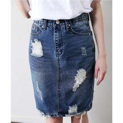 Sukistyle - Distressed Pencil-Cut Denim Long Skirt