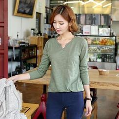 CLICK - Long-Sleeved Split-Neck T-Shirt