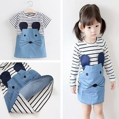 Sirena - Kids Stripe Panel Mouse Embroidered Dress