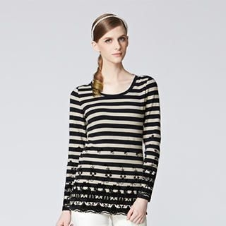 O.SA - Crochet-Panel Striped T-Shirt