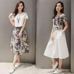Daybreak - Set: Short-Sleeve T-Shirt + Midi Skirt