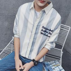 JUN.LEE - Letter Pinstriped Elbow-Sleeve Shirt