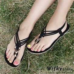 Wifky - Metal-Trim Braided Sandals
