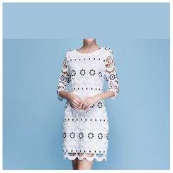 Strawberry Flower - Elbow-Sleeve Lace Dress