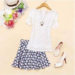 Sunny Dream - Set: Crochet Top + Floral A-Line Skirt