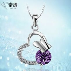 DIJING - Rhinestone Heart Sterling Silver Necklace