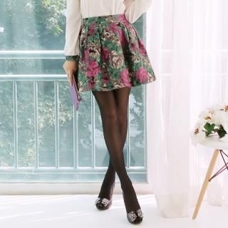 SUVINSHOP - Wool-Blend Zip-Back Pleated Floral-Pattern Miniskirt