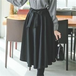 ode' - Tie-Waist A-Line Midi Skirt