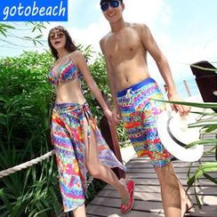 Sunset Hours - Women Bikini + Cover-Up Set/ Men Swim Shorts