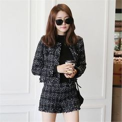 Picapica - Set: Fray-Hem Tweed Jacket + Shorts