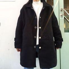 Whitney's Shop - Plain Long Woolen Coat