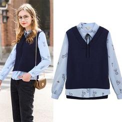 Maeve - Set: Printed Shirt + Knit Vest