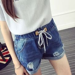 Nassyi - Distressed Drawstring Denim Shorts