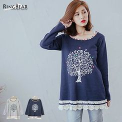 RingBear - Lace Hem Tree Print Long Top