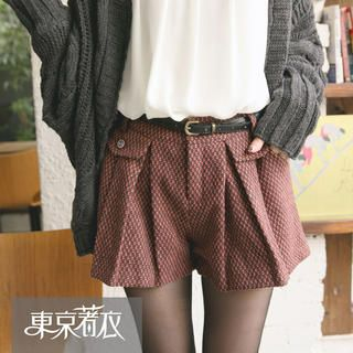 Tokyo Fashion - Belted Patterned Pleated Shorts