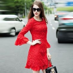 Elabo - Crochet Bell Sleeve Sheath Dress