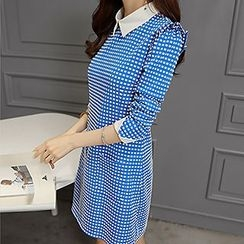 Q.C.T - Gingham Collared Long-Sleeve Dress