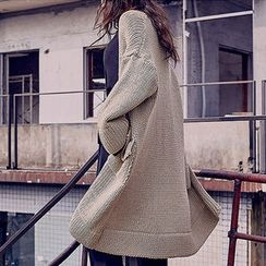 chuu - Open-Front Chunky-Knit Long Cardigan