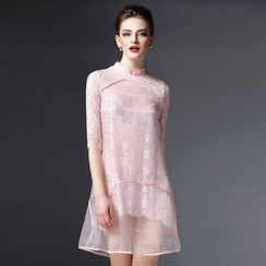 Elabo - Lace Stand Collar Mini Dress