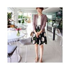 LEELIN - Flower Patterned A-Line Skirt