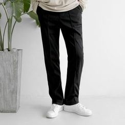 Seoul Homme - Band-Waist Seam-Front Straight-Cut Pants