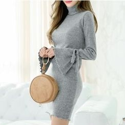 MayFair - Long-Sleeve Mock Neck Knit Dress