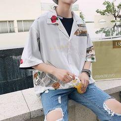 JUN.LEE - Printed Elbow-Sleeve Shirt