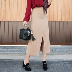 PPGIRL - Slit-Front Midi Skirt With Belt