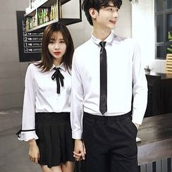 Je T'aime - Couple Matching Tie-Neck Long-Sleeve Shirt