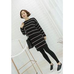 Lemite - Striped Knit Pencil Skirt
