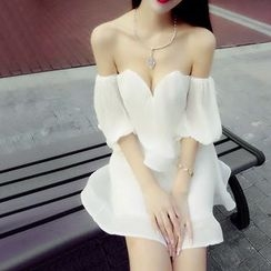 Silkfold - Short-Sleeve Off Shoulder Party Dress