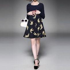 Alaroo - Bird Print Mock Two-Piece Dress