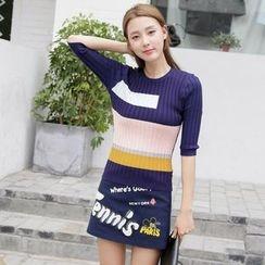 Effie - Elbow-Sleeve Contrast-Color Knit Top