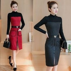 Ekim - Long-Sleeve Woolen Sheath Dress